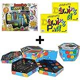 MEGA ART & CRAFTS SET - CHILDRENS JUMBO CRAFT BOX + 52 PIECE HEXAGONAL ART SET + SILVINE A4 DRAWING PAD + ACTIVITY KIDS A4 COLOURED PAD - HUGE ARTS AND CRAFTS SET - MEGA BUNDLE DEAL