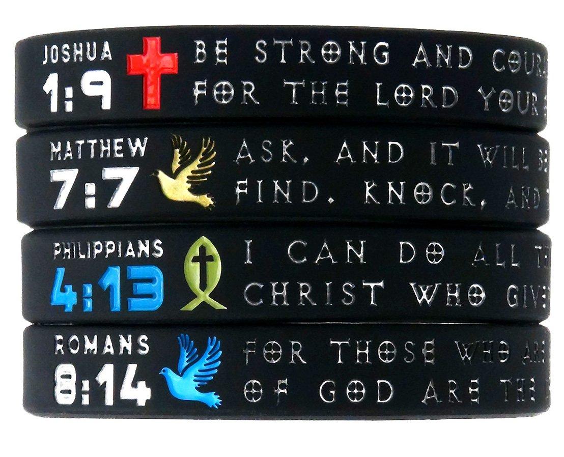 ''Symbols of Faith'' Bible Bracelets with Christian Symbols - Set of 4 Scripture Silicone Wristbands for Men Women