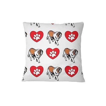 ST Bernard perro corazón patas sofá cama decoración del hogar funda de almohada almohada y cubierta