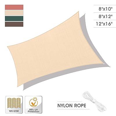 Sun Shade Sail Patio Canopy Cover Rectangle Square UV Block for Outdoor Patio Lawn Garden (8'x12', Wheat) : Garden & Outdoor
