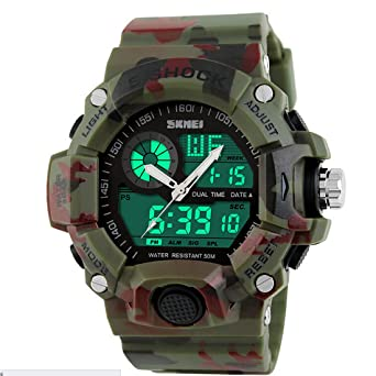 Quartz Digital Camo Waterproof Watch Men Dual Time Man Sports Watches Men Luxury Reloj Hombre Bright