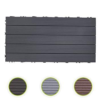 WPC grau 5er Holzoptik HORI/® Terrassenfliesen WPC I Klick Boden-Fliesen aus Kunststoff in Holzfliesen Optik I Modell