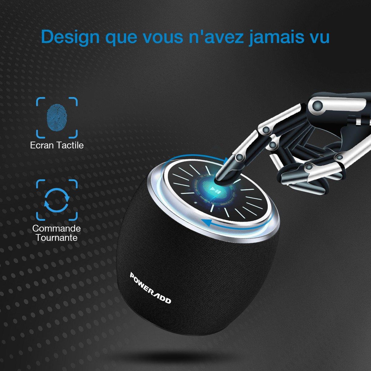 POWERADD Mini Enceinte Bluetooth Portable, Haute Parleur sans Fil 5W Ecran Tactile LED avec Son Impressionnant Grande Compatiblité pour iPhone, iPad, Samsung, HTC, Android, etc.