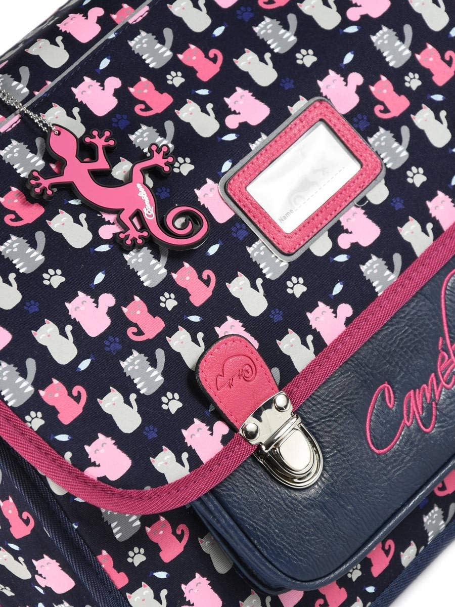 Cartable Enfant 2 Compartiments Cameleon Jeune Et Scolaire Bleu Textile Garni Synthetique