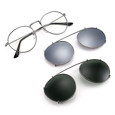4a20d8ed87b Retro Round Reading Glasses with 2 Clip on Polarized Lenses Men Women  (Gunmetal Green