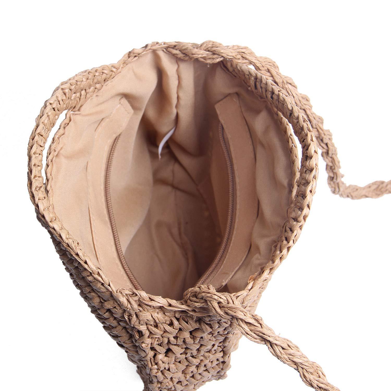 LUI SUI Rund naturlig halm crossbody väska kvinnor handgjord vävd axelväska sommar strand handväskor och handväska, - Khaki - Large 03 Khaki