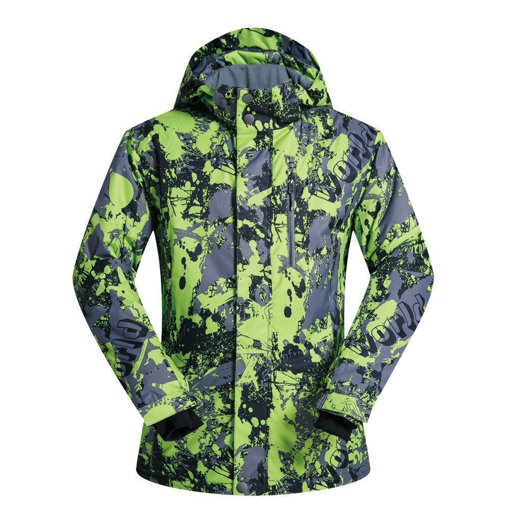 AUMING Skianzug Skijacke Männer Schnee Skianzug, Ski Jacke atmungsaktiv und Winddicht wasserdicht Farbe und Größe zur Wahl (Farbe : Grün, Größe : XL)