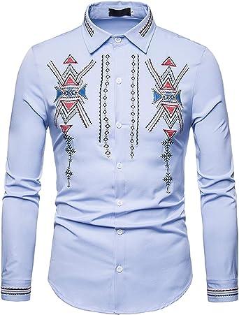WHATLEES Camisa de Vestir de Manga Larga para Hombre, Ajustada, con Botones: Amazon.es: Ropa y accesorios