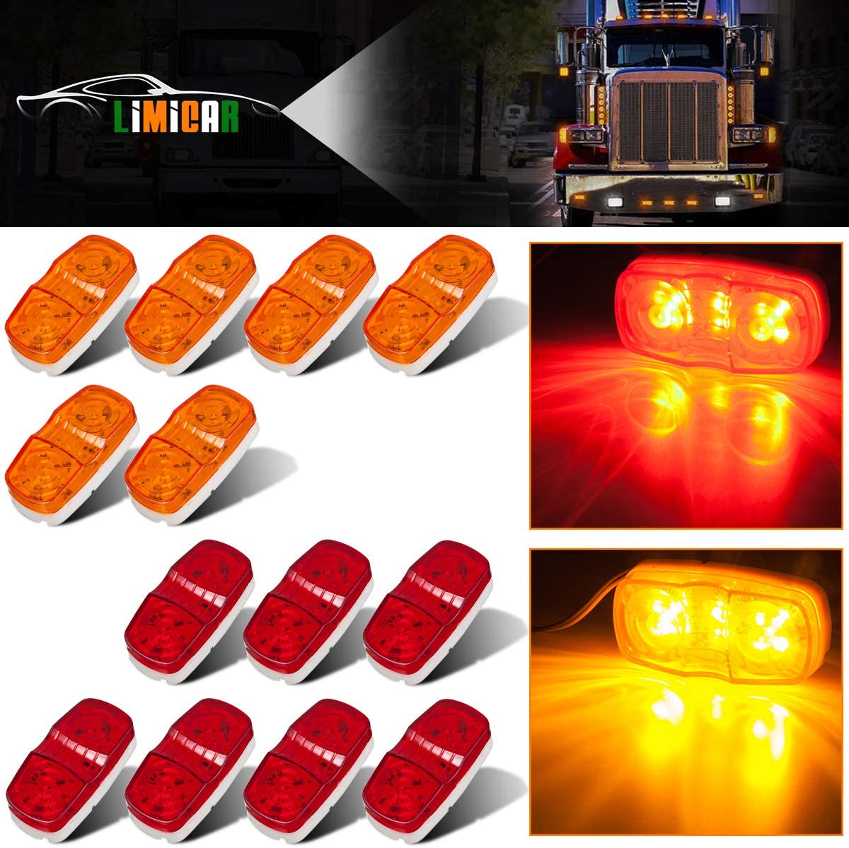 yellow JIUY 1* Best Promotion 12V Waterproof 3LED Beads Car Trailer Truck Edge Side Marker Clearance Light F5 Straight Bulb Warning Lamp