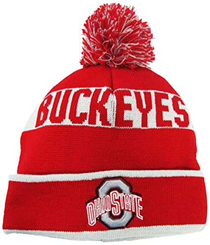 5e67a12c1cbddb Amazon.com : Ohio State Buckeyes Red/Grey Cuffed Pom Knit Beanie Hat / Cap  : Sports & Outdoors