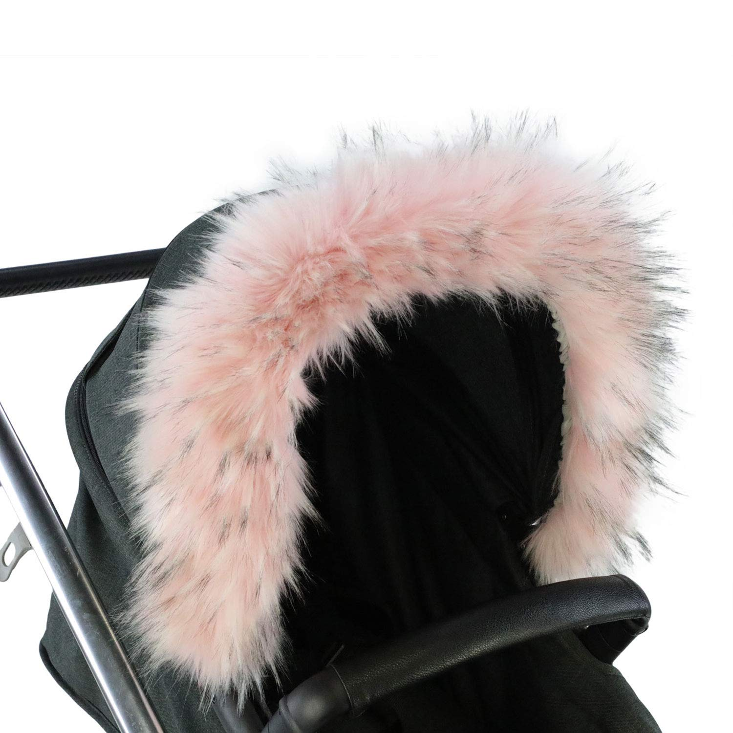 FYLO Pram Fur Hood Trim Attachment Faux for Pushchair//Buggy//Stroller//Travel System Light Pink