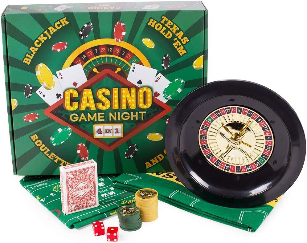 BBG デラックスミニカジノコンプリートゲームナイトセット - ブラックジャック、クラップ、ルーレット、ホールデムポーカー付き