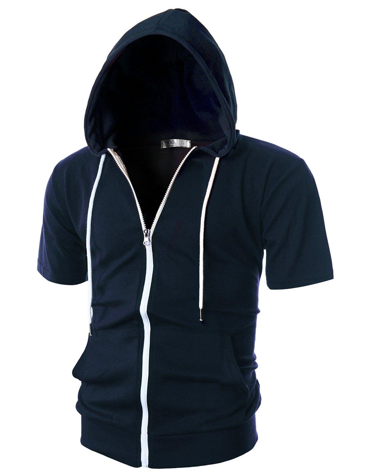 Ohoo Mens Slim Fit Short Sleeve Lightweight Zip-up Hoodie with Kanga Pocket/DCF007-NAVY-XL