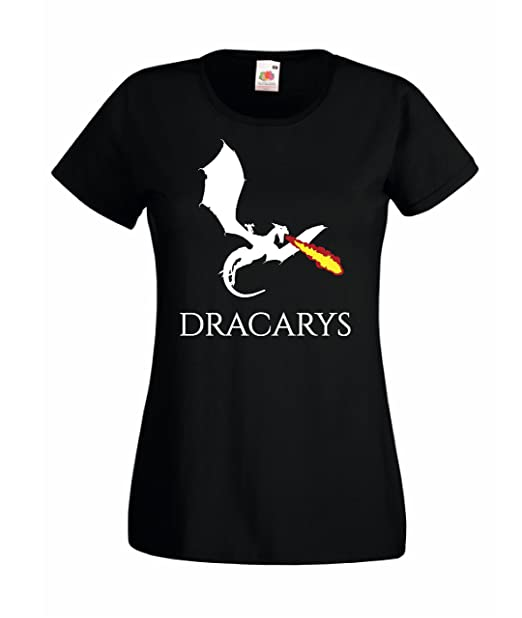 T-SHIRT Maglietta TARGARYEN DRACARYS GAME OF THRONES Trono di spade Donna (LARGE, NERO)
