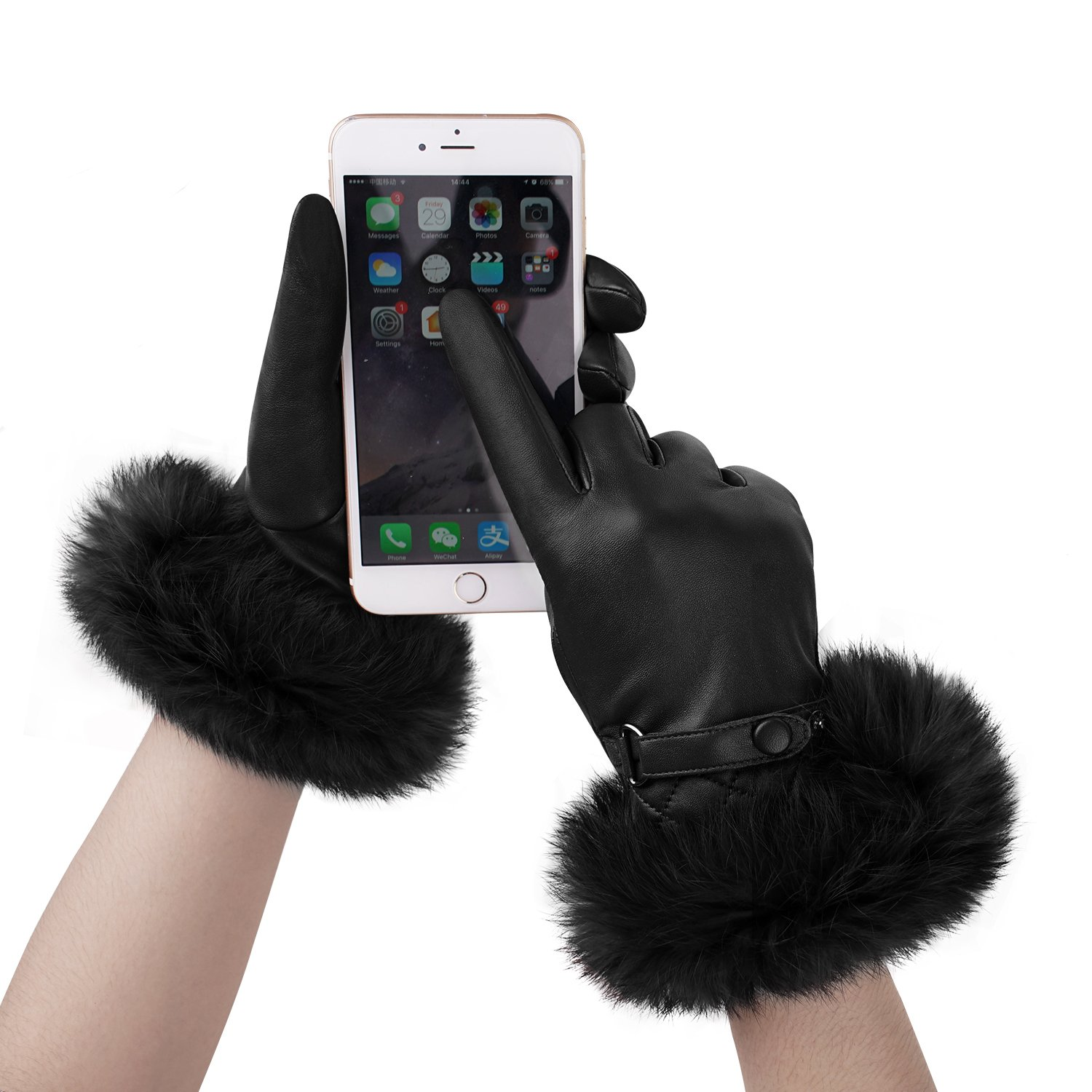 GSG Womens Luxury Italian Genuine Nappa Leather Gloves Fashion Fur Trim Full Palm Touchscreen Winter Warm Gloves Black 8.5 by GSG (Image #2)