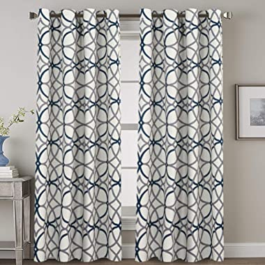 Blackout Bedroom Curtain Thermal Insulated Energy Efficient Home Fashion Drape Privacy Protection Grommet Window Treatment- 52 inch Width by 84 inch Length- Set of 2 Panels- Grey and Navy Geo Pattern