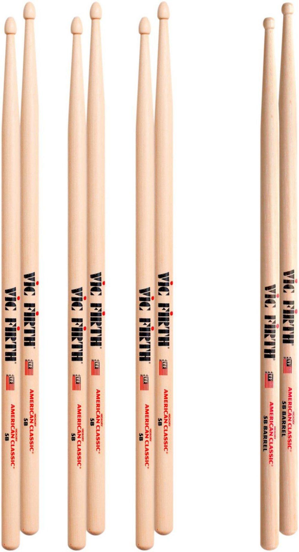 Vic Firth 3-Pair 5B Sticks with Free Pair 5B Barrel Wood Tip