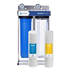 "Express Water Whole House Water Filter – 2 Stage Home Water Filtration System – Sediment and Carbon Filter – includes Pressure Gauge, Easy Release, and 1"" Inch Connections"