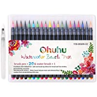 Watercolor Brush Pens, Ohuhu 20 Colors Water Color Painting Markers W/A Water Coloring Brush, Watercolor Paints for Adult Coloring Books Manga Comic Calligraphy, Back to School Art Supplies