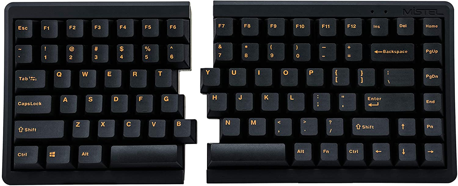 Mistel BAROCCO MD770 TKL Split Mechanical Keyboard with Cherry MX Blue Switch, Ergonomic Keyboard with Orange Letter PBT Double Shot Keycaps for Windows and Mac, Programmable Macro Support, ANSI/US