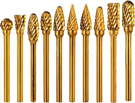 1//4 Inch Shank and 6 mm 1//8 Inch Carbide Burr Set 10 Pcs Tungsten Carbide Double Cut Rotary Burr Set Double Cut Tungsten Carbide Rotary File Cutting Burs Tool Rotary with 3 mm Head Size