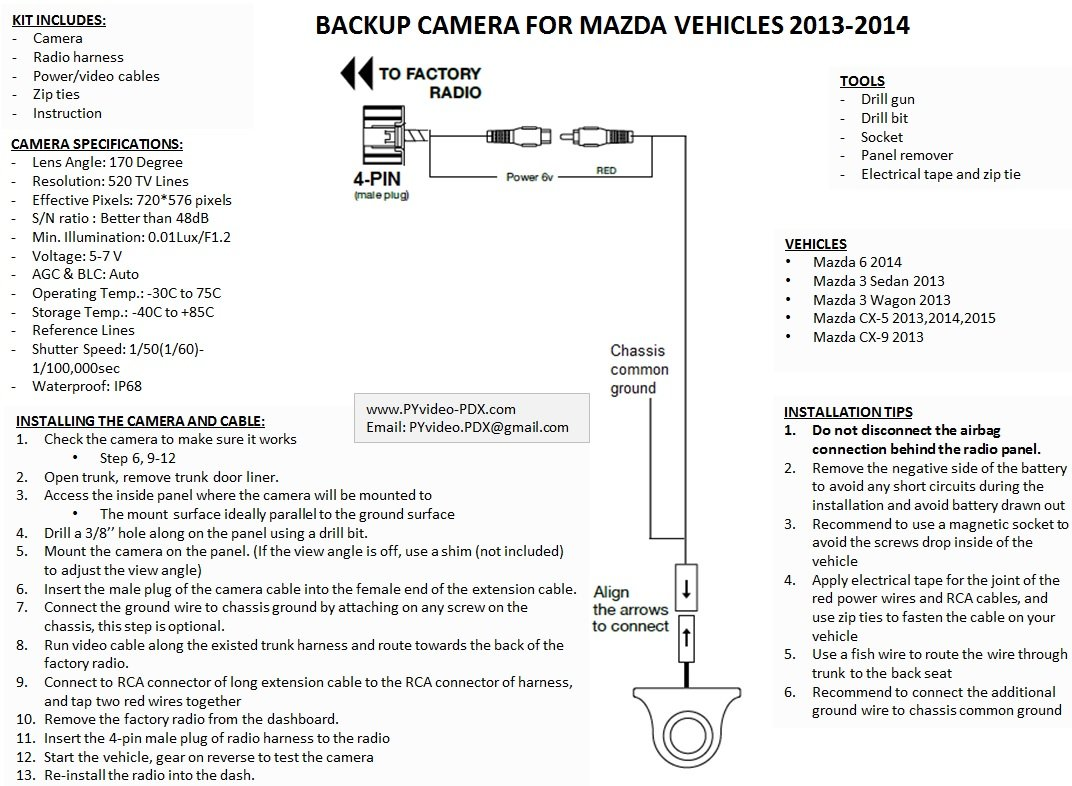 71 URJKzfbL._SL1072_ amazon com pyvideo backup camera kit for mazdafor sedan, wagon Mazda Cx 9 Door Panel Removal at gsmx.co