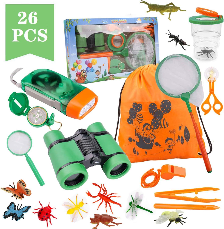 Funny House Exploración para Niños,26 Piezas Outdoor Explorer Kit Aventura al Aire Libre Juguetes 3-10 años Educativos Regalo de Cumpleaños para Niños con Mochila Brújula Binoculars