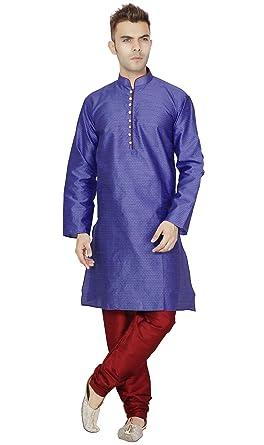 f42e4938491b Amazon.com  Kurta Pajama for Men Long Sleeve Kurta Pyjama Set Indian  Wedding Party Clothing  Clothing