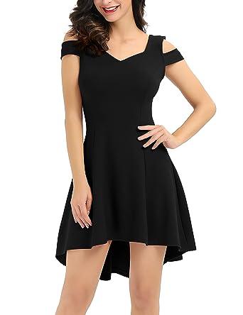 cbe0460b733 InsNova Summer Black Cocktail Dress Cold Shoulder Skater Dresses for Women  Wedding Party