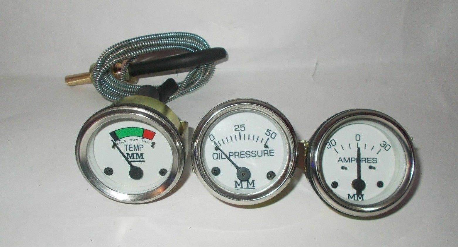 Minneapolis Moline Temp, Oil Pr, Ampere Gauge Set- G,R,U,Z,335,400,445, 500, 600 in Chrome Bezel
