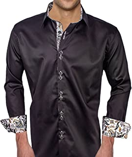 product image for Black with Light Grey Paisley Designer Dress Shirt - Made in USA
