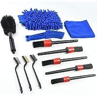 URAQT Reinigingsborstel auto, 12 stuks reinigingsborstels auto en microvezeldoeken voor banden en autoruiten…