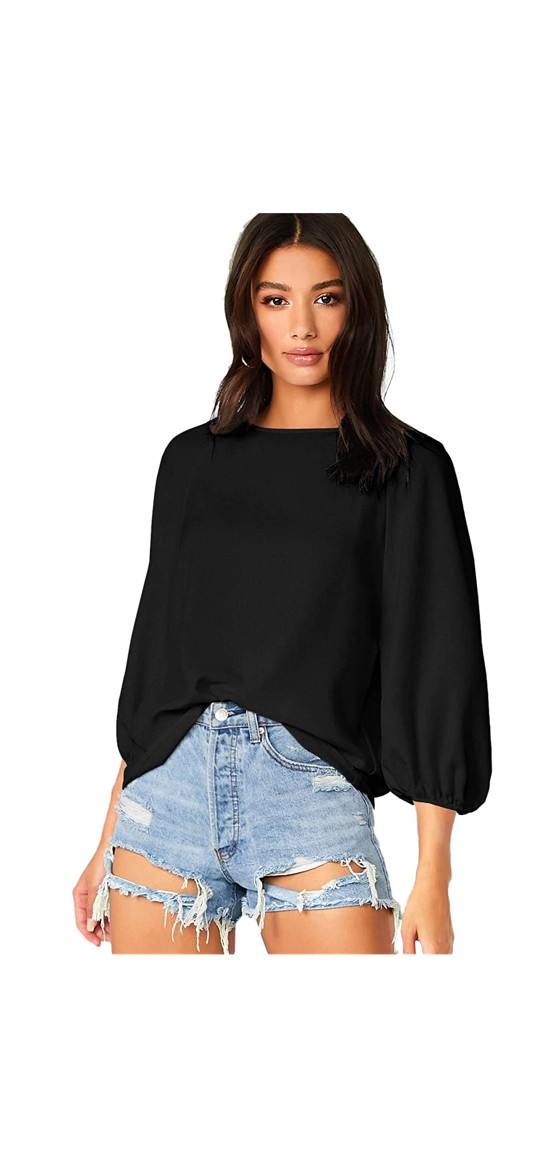 Women's Casual Bishop / Sleeve Solid Blouse Round Neck