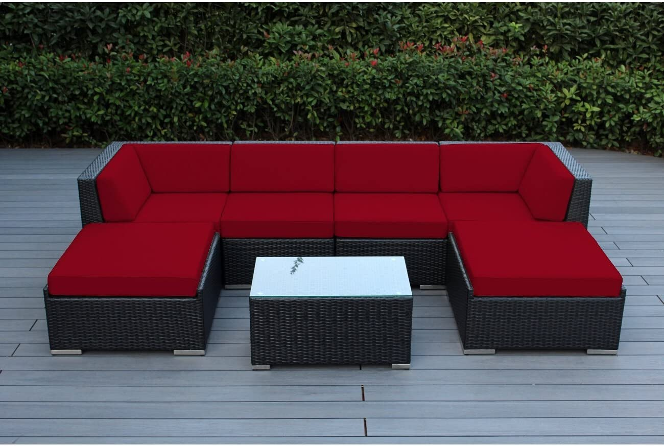 Ohana 7-Piece Patio Wicker Sectional Sofa Set with Cover, Red