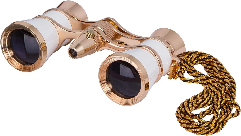 Levenhuk Broadway 325F Opera Glasses (White Theater Binoculars with LED Light and Chain)