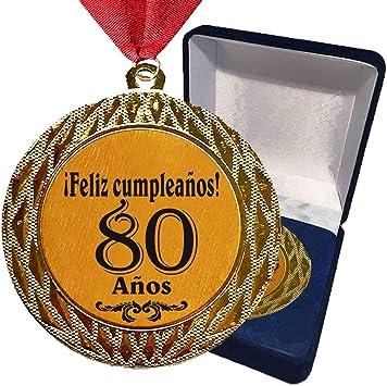 Larius Group La Medalla con Texto estandarizado 80 años - ¡Feliz cumpleaños! o Deseado Incl. Cinta / Caja - El Regalo para el algun Evento, competiciones, Pruebas Deportivas, Boda (con Caja): Amazon.es: