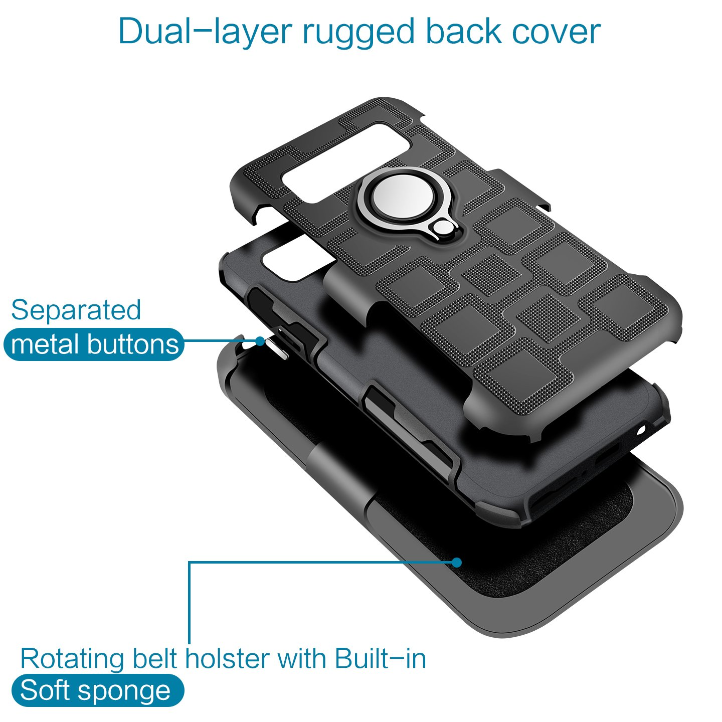 4351495492 Gun Metal Gray Samsung Note 8 Holster Case,MAHYVE 360/°Adjustable Metal Ring Grip Kickstand Cover Compatible with Magnetic Car Mount Holder for Samsung Note 8