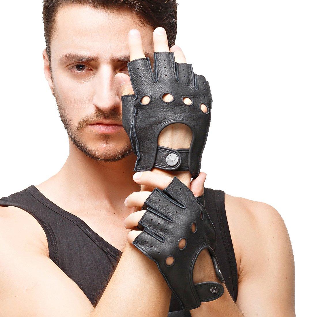 Nappaglo les gants de daim sans doigts hommes demi conduite moto cyclisme  riding non doigt de 292f8e61f820