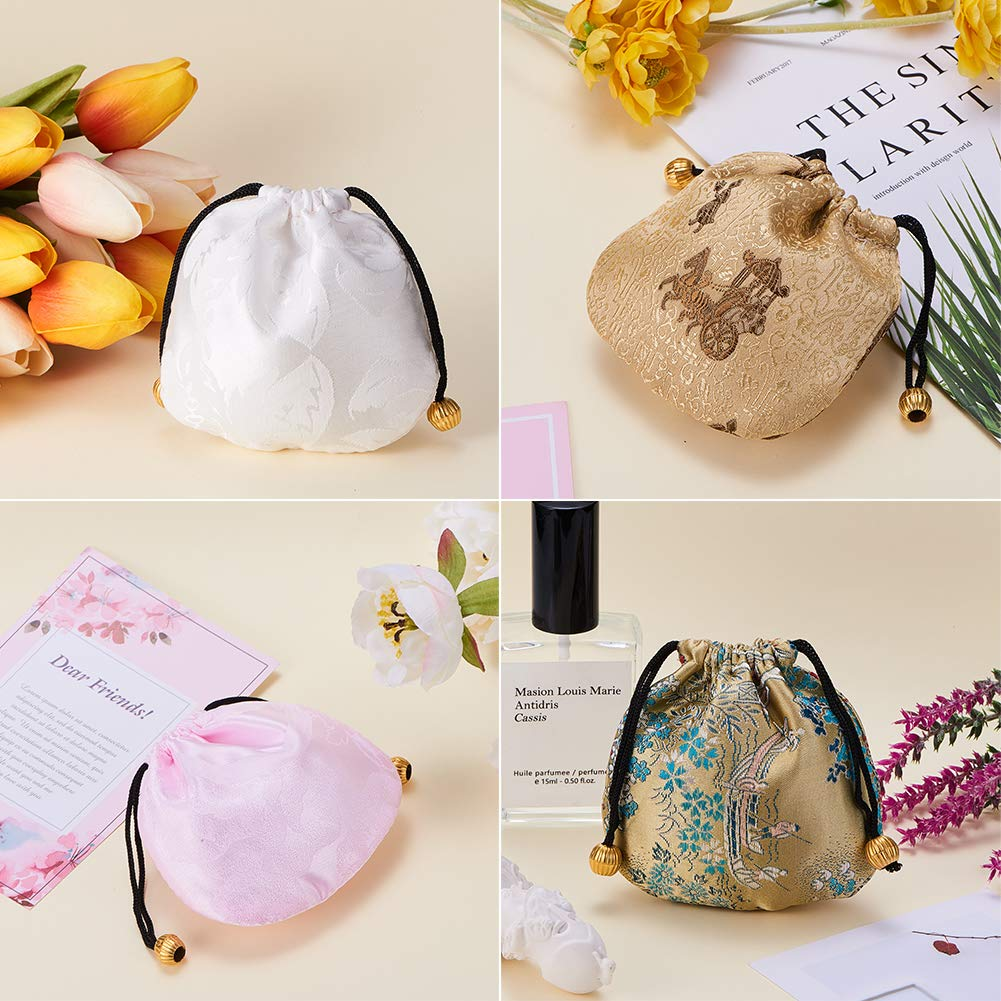 10X Chinese Handmade Mix Colors Silk Bag Coin Purse Gift Jewelry Bags Pouch Nice