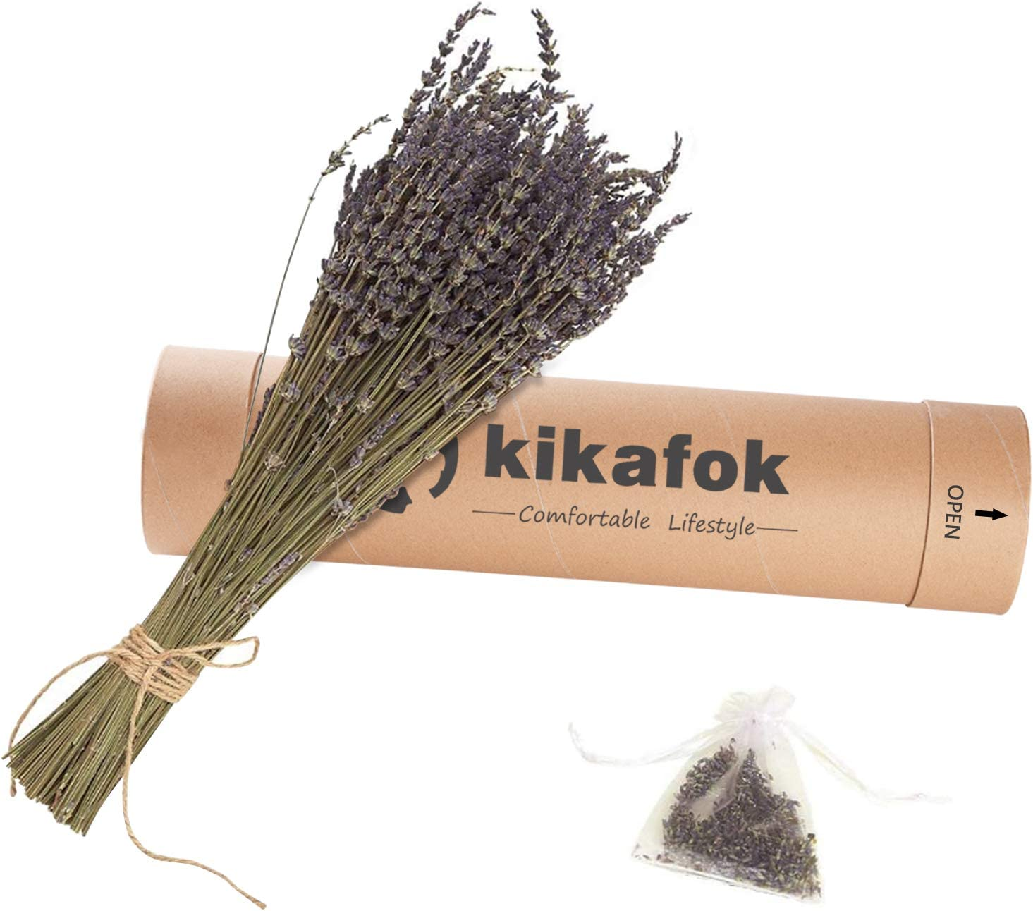 kikafok 200 Stems Dried Lavender Bundles,Handmade Never Withered Natural Lavender Flowers , with Strong Paper Tube Packaging, for Home Decoration, Courtyard Decor , Home Fragrance.