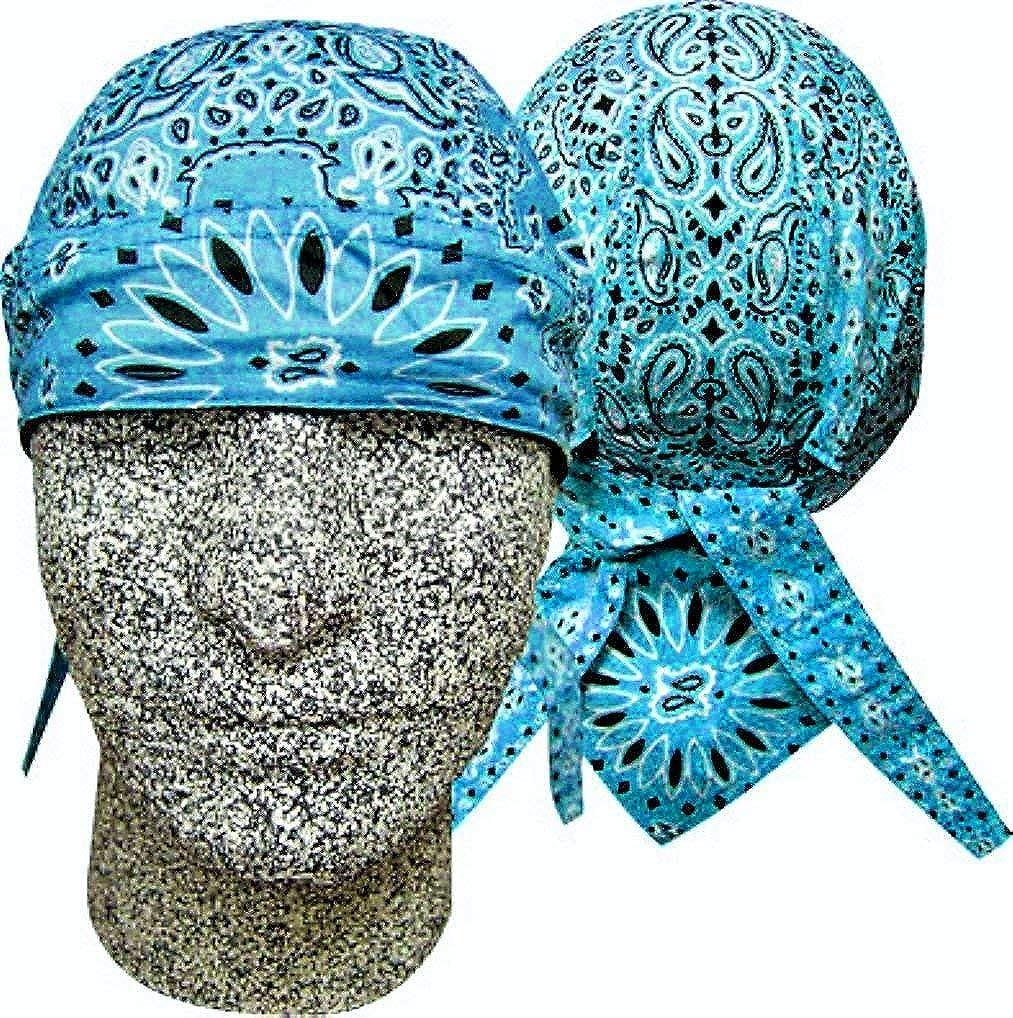 Danbanna Deluxe Teal Blue Black White Paisley Headwrap Doo Rag Skull Cap Durag Sweatband Adjustable Ties