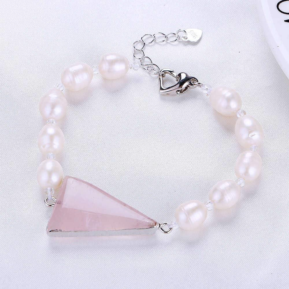 FINLN Perla Blanca señoras Pulsera Deportiva Alta joyería Cuarzo Rosa Piedra Cristal Plata Hebilla corazón Bolsa de Accesorios de Anclaje Popular