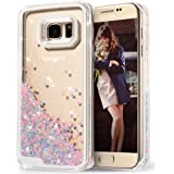 Galaxy S7 Edge Case, Wuloo Samsung Galaxy S7 Edge Hard Case Fashion Creative Design Flowing Liquid Floating Luxury Bling Glitter Sparkle Love Heart Hard Case for Girls Children (PinkBlue)