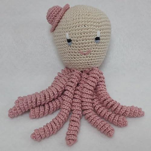 Pulpo amigurumi para recién nacido en color rosa palo. Pulpo de ...