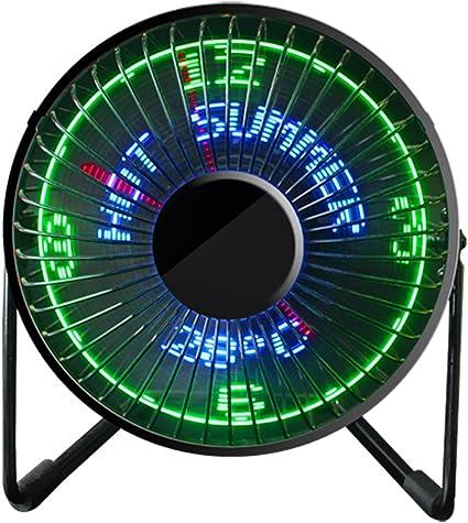 GUBENM Ventilador LED, Mensaje de temperatura en tiempo real, USB ...