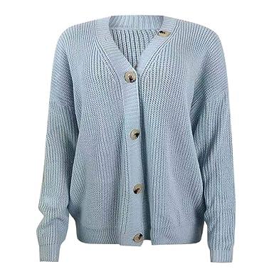 Amazon.com: Eoeth suéteres de manga larga con botón de una ...