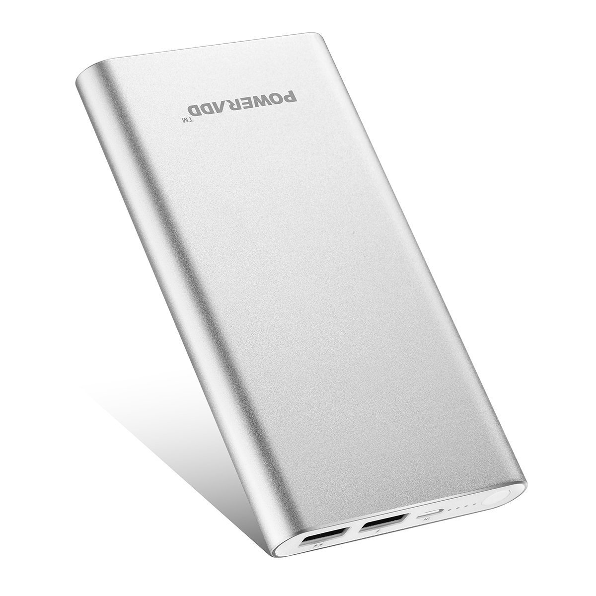 Poweradd 2nd Gen Pilot 2GS 10000mAh Power Bank, Dual USB Port 3.4A Portable Charger External Battery with High-Speed Charge for Smartphone and Tablet - Silver (Apple Cable Not Included)