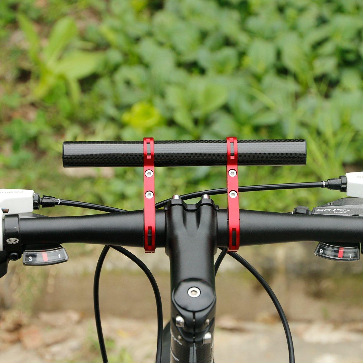 DEEMOUNT Bike Handlebar Extension Rack 202mm Bicycle Double Clamp Bracket Carbon Fiber Extender Accessories Flashlight Lamp Phone Mount Bracket Stand Holder Space Saver - Red by DEEMOUNT (Image #9)
