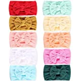 10 Pack Baby Girl Headbands Baby Headbands Baby Bows Turban Knotted Nylon Newborn Head Bands Infant Toddler Hairbands…