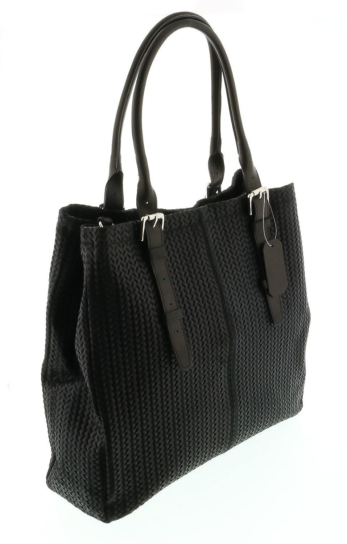 HS Collection HS 2078 NR ASPA Black Leather Tote/Shopper Bags